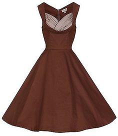 10, Chocolate, Lindy Bop Women's Ophelia Black Dress NEW