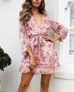 The women's print v neck lace up waist dress with long sleeve and stripe belt is a good choice of fashion and you will love it in summer. Fall Dresses, Sexy Dresses, Casual Dresses, Short Dresses, Fashion Dresses, Mini Dresses, Casual Outfits, Party Outfits, Pink Fashion