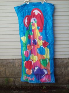 Incredible find! Highly collectible Lisa Frank sleeping bag. Rainbow Heart Print. Sleeping bag can be completely unzipped and used as a