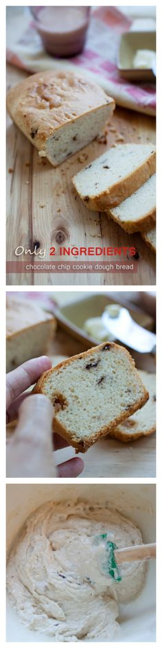 2-ingredient chocolate chip cookie dough bread - YES. Just buy your favorite ice cream and mix with flour and you have a bread, and it's good | rasamalaysia.com