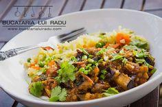 Curry de vinete si linte, reteta vegetariana. #bucatarilauiradu #curry Curry, Beef, Ethnic Recipes, Food, Meat, Curries, Eten, Ox, Ground Beef