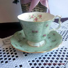 Free Shipping Royal Albert TRUE LOVE Light Green with Pink Rose Buds Bone China Tea Cup and Saucer ca 1960s by LauriesFineChina on Etsy