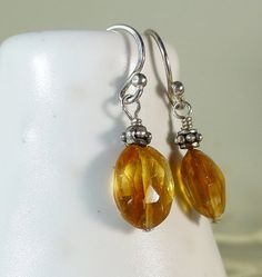 Casual & Cute! Golden Faceted Citrine Drop Silver Earrings .  Sara Nolte Designs