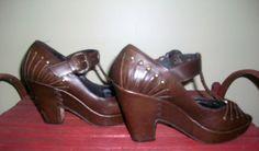 frye studded T-strap leather platforms