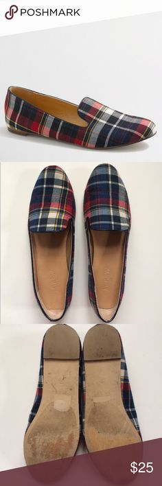 J. Crew Addie plaid loafers Barely worn Factory Addie loafers in plaid. Super cute and comfortable. Excellent condition - the only visible wear is the bottom soles - and from my smoke free home. Arrives to you clean and ready to wear, so shop with confidence! No trades and no PayPal. Thanks for checking out my closet! J. Crew Factory Shoes Flats & Loafers