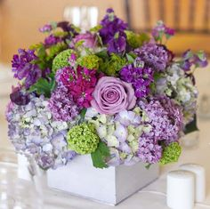 purple seaside flower arrangement.  Love the hydrangea and verbena
