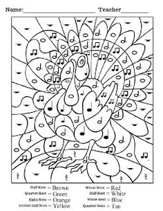 Thanksgiving Coloring Pages And Crafts furthermore Color By Note Music ...