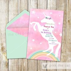 Free printable unicorn invitations perfect for birthday party or baby showers. These DIY invites are the perfect start for your event. You have 2 options to cho Unicorn Birthday Invitations, Birthday Card Template, Free Printable Birthday Invitations, Girls Party Invitations, Birthday Cards, Invitation Fete, Unicorn Themed Birthday, 8th Birthday, Free Birthday