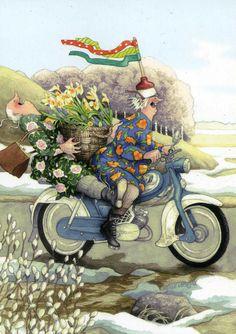 Wholesale Postcards of Inge Look, number 34 Old Lady Humor, Old Folks, Whimsical Art, Old Women, Getting Old, Illustrators, Folk Art, Illustration Art, Bicycle Illustration