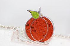 Pumpkin Pendant/ Necklace - Stainless Steel with Orange & Spring Green Tinted Concrete with Crushed Glass