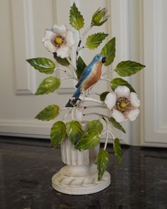 RARE Italian Tole Painted Blue Bird and Wild Roses Metal Iron Sculpture | eBay