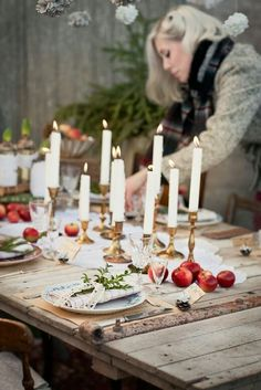 Inspiration for: mismatched brass candlesticks, fruit in tablescape