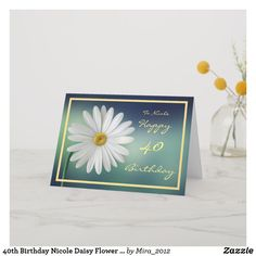 Birthday Meggy Daisy Flower Cursive Script Card - spring gifts beautiful diy spring time new year