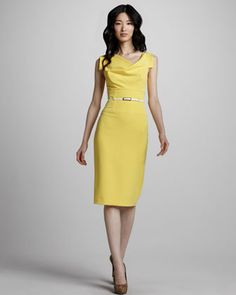 Jackie Belted Sheath Dress, Sunflower by Black Halo at Neiman Marcus..love this color