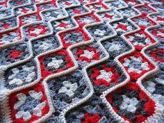 Emenda diferente em squares de crochê