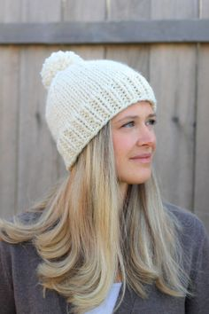 935deba03560e Belle Beanie Woman s Knitted Hat with Pom Pom in Fisherman Off White- Tan-  Other