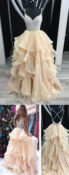 Sparkly Pretty Tulle V-neck Long Prom Dresses, The Newest Evening dress · ModelDressy · Online Store Powered by Storenvy Pretty Prom Dresses, Hoco Dresses, Dance Dresses, Ball Dresses, Homecoming Dresses, Beautiful Dresses, Ball Gowns, Evening Dresses, Formal Dresses