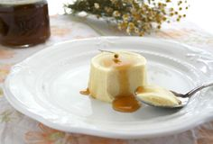 Chamomile & olive oil panna cotta drizzled with chamomile infused raw honey.