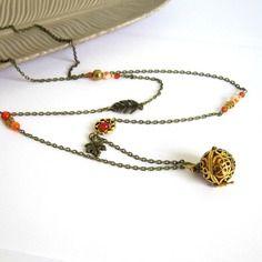 Bola de grossesse bohème chic bronze, orange, doré, cadeau femme enceinte, feuilles, ormagate, verre