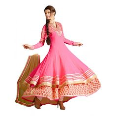 Party  Wear Embroidered Georgette Pink Anarkali Salwar Suit - EBSFSKAH376001 ( EBSFSK37 )