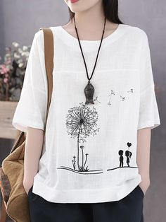 Fashionable Summer Print Flower Casual Short Sleeve Cotton T-Shirt Online - NewChic Blouses For Women, T Shirts For Women, Linen Tshirts, Moda Boho, Summer Prints, Casual T Shirts, Blue Fashion, Fashion Women, Autumn Fashion
