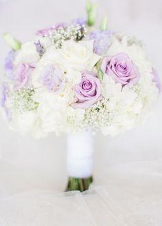 Purple + white bridal bouquet idea - purple spray roses + carnations and baby's breath {Dyanna Joy Photography}