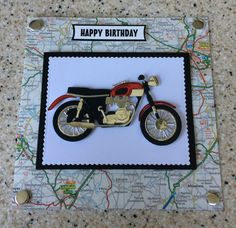 """Handmade Motorbike biker road map Happy Birthday card 6"""" square 9 colour options 