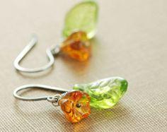 Orange Flower Leaf Earrings Sterling Silver, Glass Wire Wrap Drop Earrings, Tangerine Green Handmade, aubepine