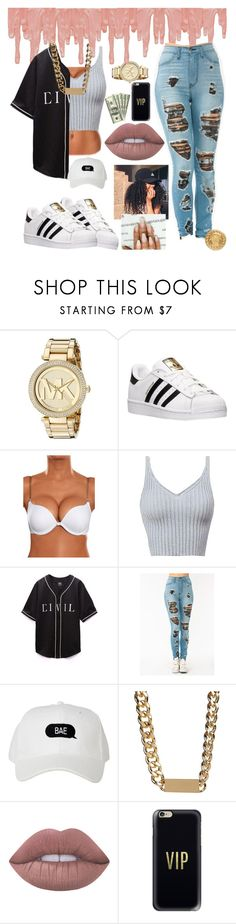 """""""Ok ok   7/12/16"""" by mxdusa ❤ liked on Polyvore featuring Michael Kors, adidas, Adia Kibur, Lime Crime, Casetify and Versace"""