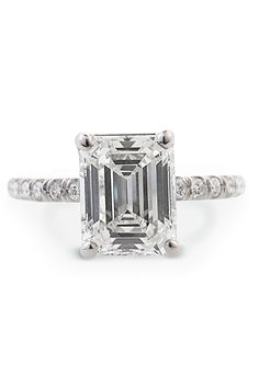 Louis Glick size platinum ring set with a center Emerald Cut Diamond & pave Diamond shank. Oster Jewelers collection of bridal and engagement jewelry. Buying An Engagement Ring, Engagement Ring Cuts, Engagement Jewelry, Wedding Jewelry, Diamond Heart, Diamond Rings, Diamond Cuts, Diamond Girl, Emerald Cut Rings