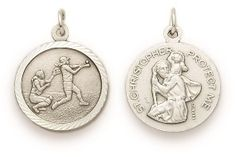 St. Christopher Sterling Silver Sports Medal (Round) - Girls Softball