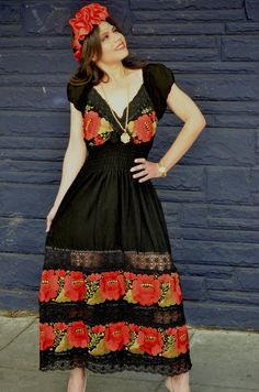 Mexican Red Embroidered Dress with Crochet Lace by Vtgantiques, $199.00