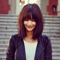 Blunt Messy Long Bob. Maybe when I'm older. But bangs are here to stay!: