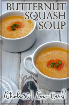 A thick and creamy butternut squash soup this dish is hearty and perfect for a chilly fall evening. Great for those who are gluten-free grain-free dairy-free Paleo low-carb and ketogenic. Gourmet Recipes, Low Carb Recipes, Diet Recipes, Healthy Recipes, Ketogenic Recipes, Delicious Recipes, Easy Recipes, Soup Recipes