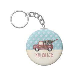 Peace Love & Joy w/ RedToy Truck Merry Christmas Keychain - Xmas ChristmasEve Christmas Eve Christmas merry xmas family kids gifts holidays Santa