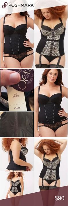 "THESE CORSETS ❤️ Two NWT 18/20 Lane Bryant Cacique I'm wearing a size 22/24 in the 4th photo (I wear a 44DD, so I ""spill"" in the 18/20). Bundle of 2 NWT size 18/20 corsets saves you 18% off my individual listings! Please see the individual corset listings for details about each one. Both are SOLD OUT! Nylon/Spandex with boning. Underwire cups lift and support for a beautiful shape in or out of clothes, with flexible side boning for an extra smooth silhouette. Leopard corset has optional…"