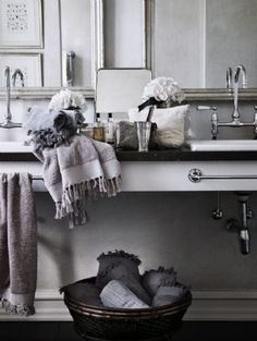 still like it. [greige: interior design ideas and inspiration for the transitional home by christina fluegge: Grey in the bath...]