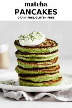 These Matcha Pancakes are completely grain-free, gluten-free and come together in just 15 minutes! They are light and fluffy, and have 10 sneaky grams of protein per serving. Gluten Free Lasagna, Gluten Free Meal Plan, Almond Joy, Matcha, Light And Fluffy Pancakes, Pancake Toppings, Gluten Free Pancakes, Protein Packed Breakfast, Delicious Breakfast Recipes