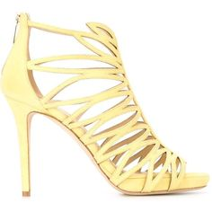 Jimmy Choo 'Kaye 100' sandals ($1,215) ❤ liked on Polyvore featuring shoes, sandals, heels, jimmy choo shoes, yellow sandals, heeled sandals, stiletto heel sandals and heels stilettos
