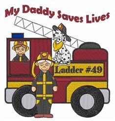 Windmill Designs Free Embroidery Design: My Daddy Saves Lives 4.18 inches H x 4.03 inches W