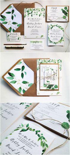 Wedding Invitation Set - Green Leaf // Printed Wedding Invitations with Liner //. Wedding Invitation Set - Green Leaf // Printed Wedding Invitations with Liner // Eucalyptus // Watercolour Leaves // Recycled Invites - Wedding Invitation Trends, Invitation Kits, Laser Cut Wedding Invitations, Rustic Invitations, Printable Wedding Invitations, Wedding Stationery, Invites, Wedding Cards, Diy Wedding