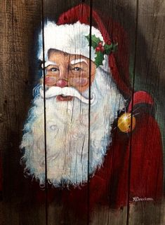 how to paint a easy santa face on decor Father Christmas, Christmas Signs, Rustic Christmas, Christmas Art, Christmas Projects, Holiday Crafts, Vintage Christmas, Christmas Decorations, Xmas