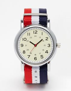 Watch by Reclaimed Vintage Silver-tone case Three-hand movement Single crown to side Canvas strap Pin buckle fastening Twin metal keepers Products vary due to reclaimed nature Exclusive to ASOS