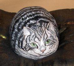 Gato pintado en piedra / Cat painted on stone