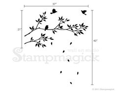 "Tree / Branches Wall Decal Sticker for Nursery, Kids' Room, or Home. Wall art decal features birds and branches. Great for children's rooms, playroom, nursery, or home!  Design K021E - Birds & Branches Vinyl Wall Decal  ♥ PRODUCT - DIMENSIONS ♥ Two branches: (approx.) 37""w x 21""h Whole scene: (approx.) 37""w x 43""h  Please refer to picture for detailed dimensions.  ♥  DECAL - MATERIALS  ♥ We use high-quality commercial-grade removable wall decal which creates a beau..."