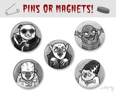 Creature Feature classic monster Halloween pugs pins / magnets!