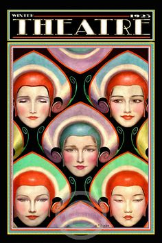 Art Deco Theatre Cover Poster by W.T. Benda Costume Masks Stage Drama Beautiful Girls Headdresses 1923
