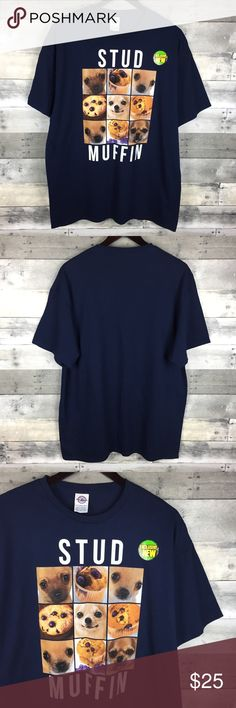 """Mens Graphic Tee Stud Muffin Chihuahua Blueberry Mens Graphic Tee Stud Muffin Spellout Chihuahua Blueberry Muffin Navy Size XL  Condition: New Without Tags! No signs of wear! Tag Size:XL Measurements: Armpit to armpit: 21.5"""" Length: 30.5""""  Please follow me for more great items and sweet deals! Thank you for shopping! Shirts Tees - Short Sleeve"""