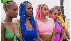 Green buns, Blue box braids - All About Bob Box Braids Styles, Short Box Braids, Bob Braids, Box Braids Styling, Braid Styles, Locs Styles, Box Braids Hairstyles, Try On Hairstyles, Black Women Hairstyles