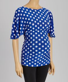 Look at this Blue Polka Dot Maternity Dolman Top - Women on #zulily today!